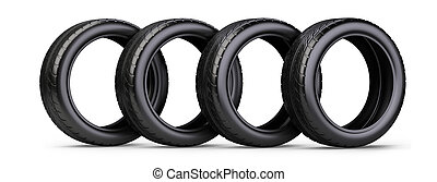 Set of four new black tyres for car. Isolated on white background 3d illustration.