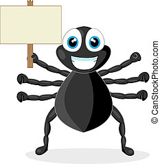 cute little spider with wood sign - vector illustration of a...