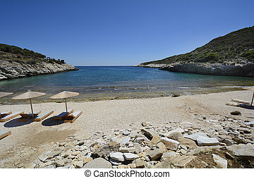 Greece, Thassos Island, quiet Kalami beach with sun...