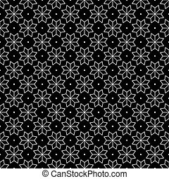 White Flower and Dots Japanese Seamless on Black Background. Vector Illustration