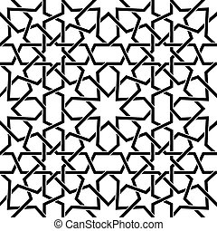 Moroccan tiles vector pattern, Moorish seamless design in black, Geometric abstract tiles
