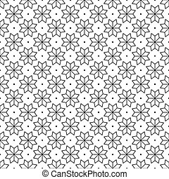 Black Flower and Dots Japanese Seamless on White Background. Vector Illustration