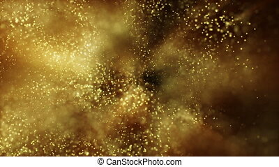 Background gold movement. Universe gold dust with stars on black background. Motion abstract of particles. VJ Seamless loop.Scale.