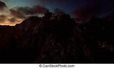 Mount Rushmore timelapse sunrise, camera fly
