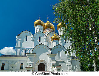 Uspensky Cathedral in Yaroslavl Russia. Golden ring of...