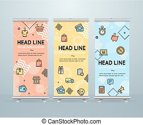 Roll Up Banner Stand Design Template. Vector - Roll Up...