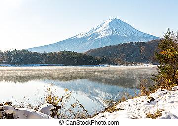 Snow Fuji Kawaguchiko late autumn - Mt. Fuji wit snow in...