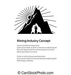 Silhouette Miner and Mountain and Text - Miner Holding a...
