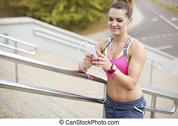 High angle view of woman who loves jogging