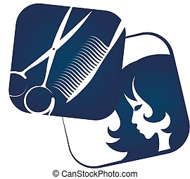 Icon for hairdresser and beauty salon with profile girl