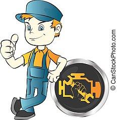 Motor vehicle repair master - Car engine repair worker...