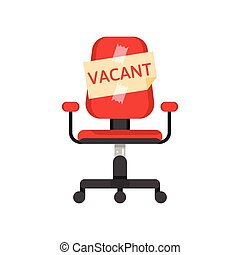 office chair with vacancy advertisement