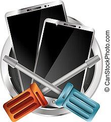 Repair of phones and smartphones vector - Repair phones and...