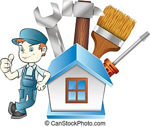 Repairman at home with a tool - Repair man at home with tool...