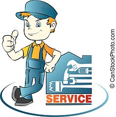 Repairman vector - Master of house repair with vector tool