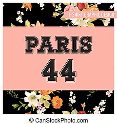 T-shirt Floral Paris Graphic with Lily and Orchid Flowers. Fall Nature Travel Background in Vector