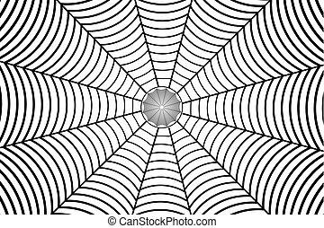 Black spider web on white background