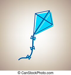 Kite sign. Vector. Sky blue icon with defected blue contour...