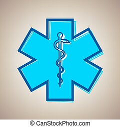 Medical symbol of the Emergency or Star of Life with border....