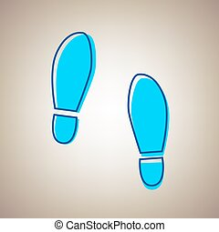 Imprint soles shoes sign. Vector. Sky blue icon with...