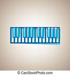 藍色, defected, 徵候。, 天空, 背景。, 原色嗶嘰, vector., 鍵盤, 鋼琴, 外形, 圖象