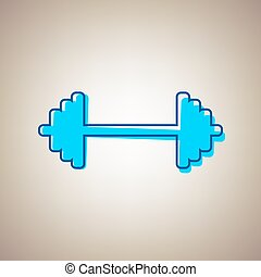 Dumbbell weights sign. Vector. Sky blue icon with defected...