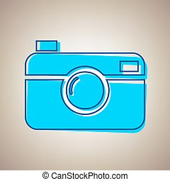 Digital photo camera sign. Vector. Sky blue icon with...