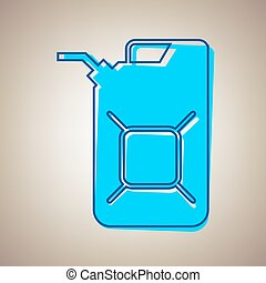 Jerrycan oil sign. Jerry can oil sign. Vector. Sky blue icon...
