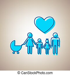 Family sign with heart. Husband and wife are kept children's hands. Vector. Sky blue icon with defected blue contour on beige background.