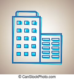 Hotel sign illustration. Vector. Sky blue icon with defected blue contour on beige background.