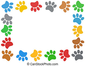 Multicolored paw print animal frame.