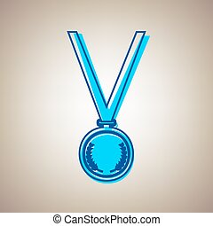 Medal simple sign. Vector. Sky blue icon with defected blue contour on beige background.