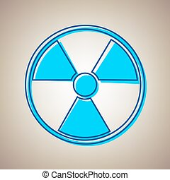 Radiation Round sign. Vector. Sky blue icon with defected...