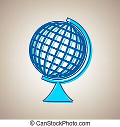 Earth Globe sign. Vector. Sky blue icon with defected blue contour on beige background.
