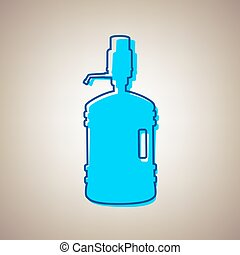 Plastic bottle silhouette with water and siphon. Vector. Sky...
