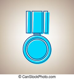 Medal sign illustration. Vector. Sky blue icon with defected blue contour on beige background.