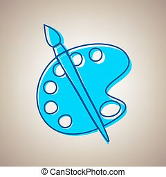 Palette and brush sign. Vector. Sky blue icon with defected blue contour on beige background.