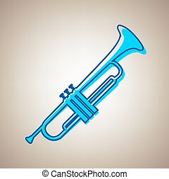 Musical instrument Trumpet sign. Vector. Sky blue icon with...