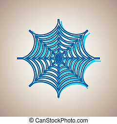 Spider on web illustration. Vector. Sky blue icon with defected blue contour on beige background.