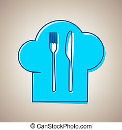 Chef hat and spoon, fork, knife sign. Vector. Sky blue icon with defected blue contour on beige background.