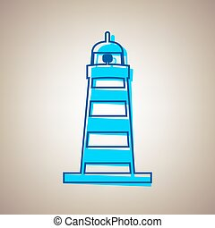 Lighthouse sign illustration. Vector. Sky blue icon with defected blue contour on beige background.