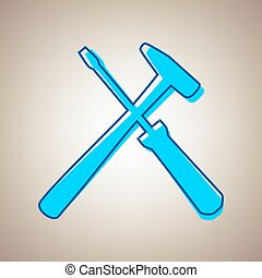 Tools sign illustration. Vector. Sky blue icon with defected...