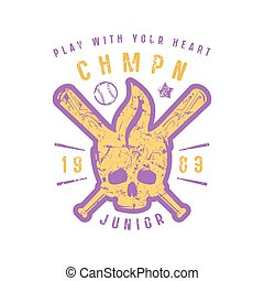 Emblem of baseball championship with image of skull. Graphic...