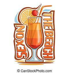 Vector illustration of alcohol cocktail: glass with layered...