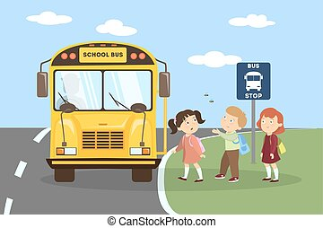 School bus with children.