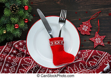 Christmas dinner background, plate, fork, knife and festive...