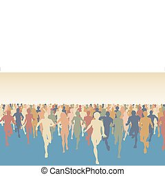 Marathon - Editable vector colorful illustration of a large...