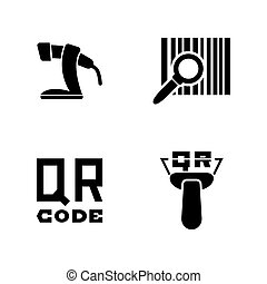 Barcode. Simple Related Vector Icons