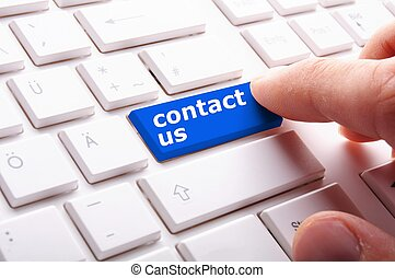 contact us word on computer keyboard key showing business...