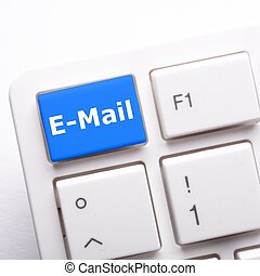 email e-mail or internet communication concept with key on...